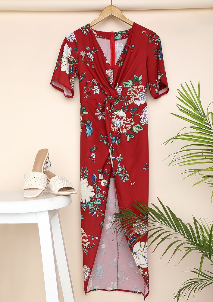 GO WHERE THE FLOWERS ARE RED SLIT DRESS