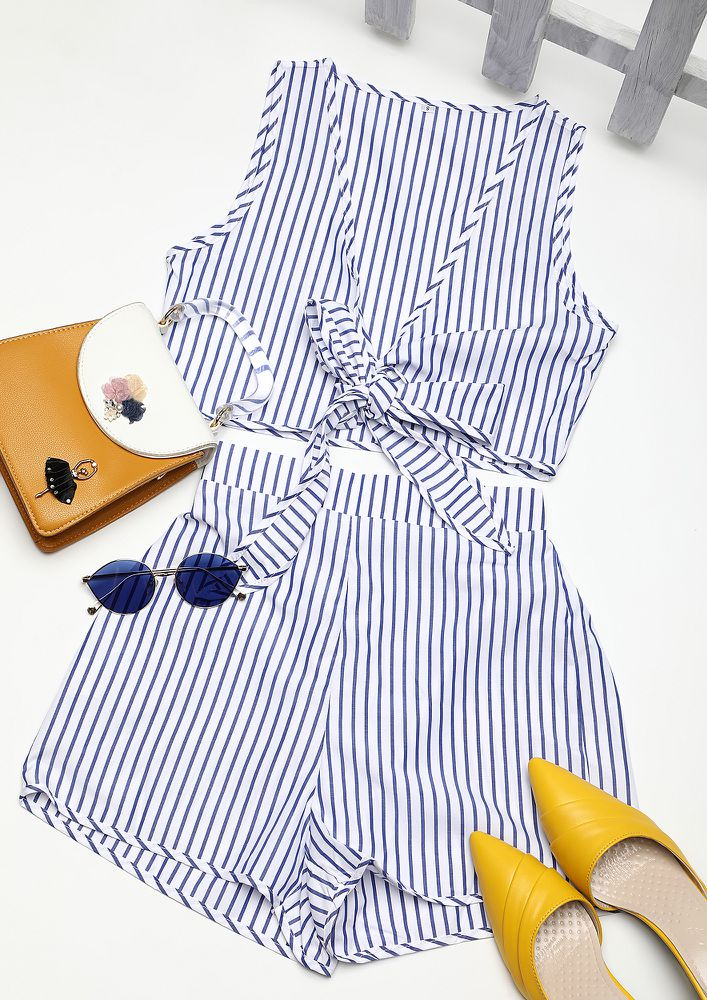 DROP THE LINE ON THIS BLUE STRIPED TWO PIECE