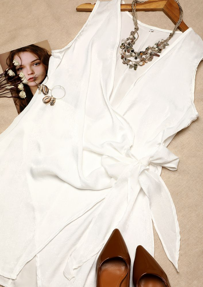 SPRING IS COMING IN SHEEN WHITE SPAGHETTI DRESS