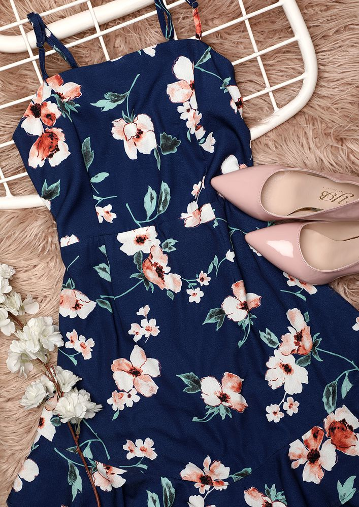 ALL THE WAY FLOWERS BLUE DRESS