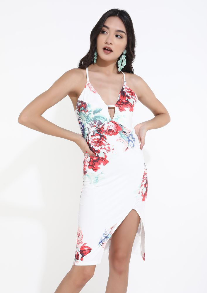A BRIGHT FLOWERY DAY WHITE DRESS