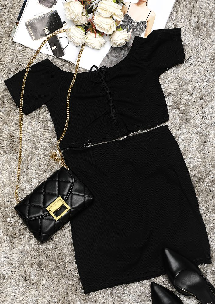 A LITTLE TOO CURIOUS BLACK TWO PIECE