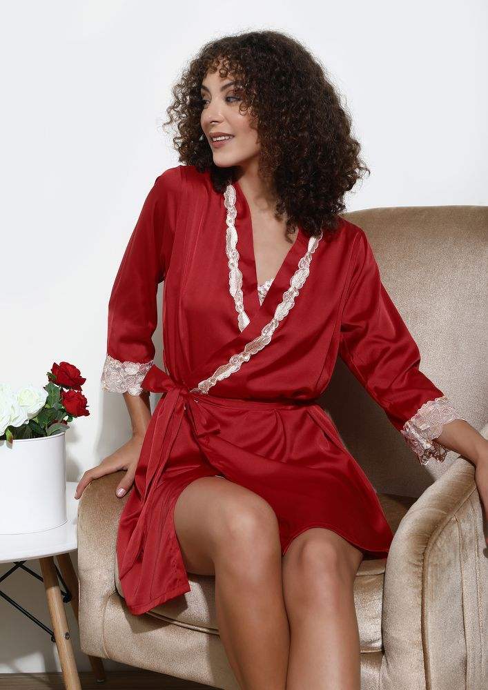 PARADISE HAS SUPERSOFT RED SLEEPWEAR