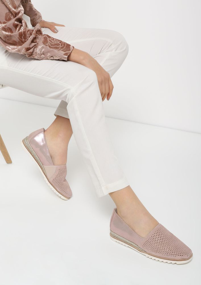 GONE WITH THE STUDS PINK ESPADRILLES