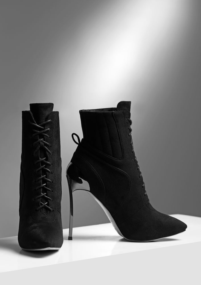 LET'S RAISE YOUR GAME BLACK HEELED BOOTS