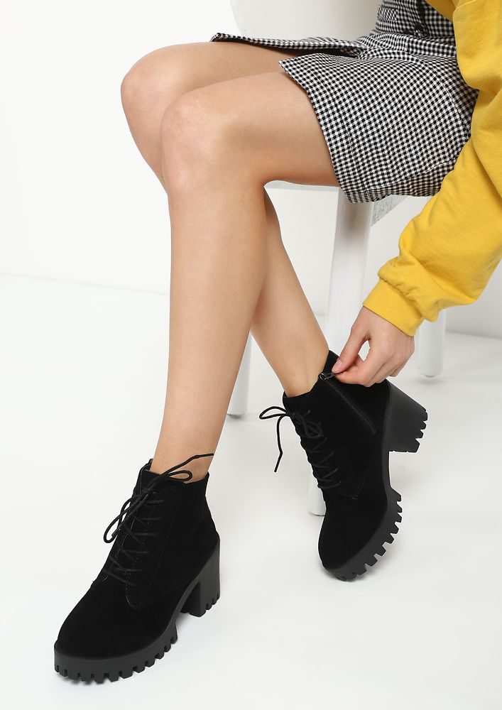 I MEAN THE WORLD BLACK ANKLE BOOTS
