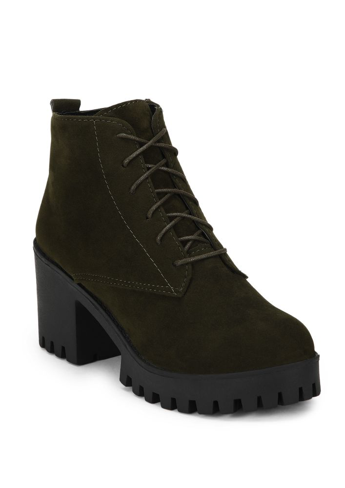 I MEAN THE WORLD GREEN ANKLE BOOTS