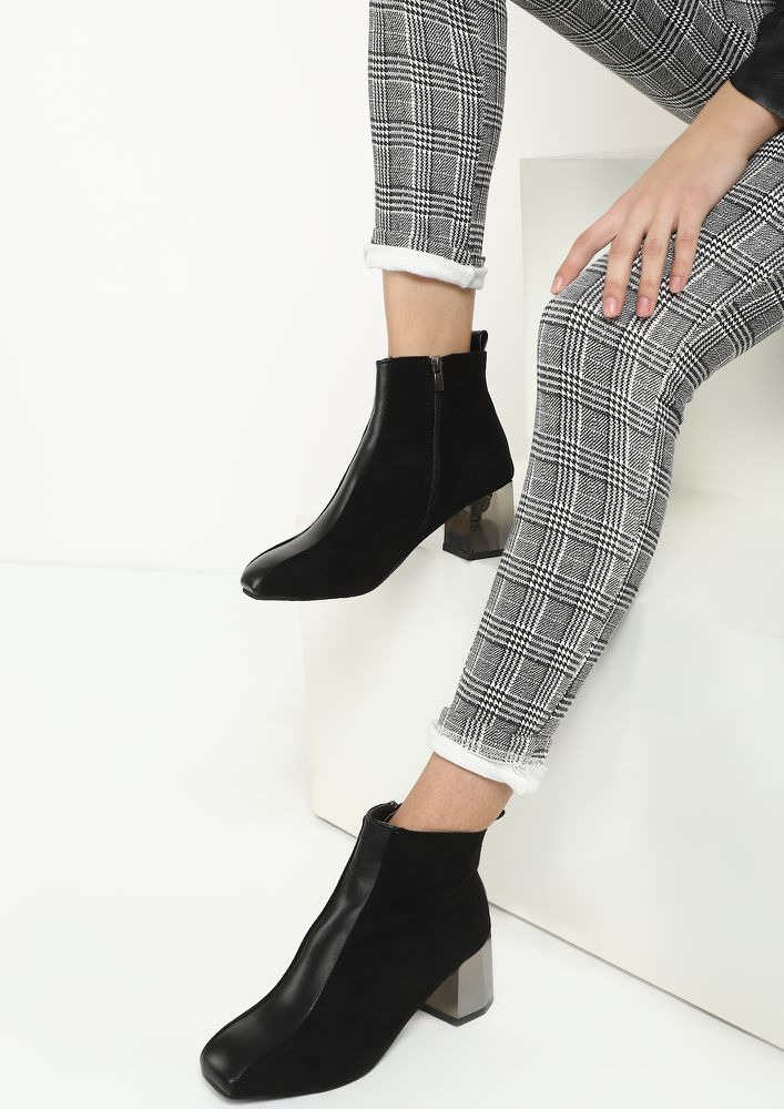TAKE BACK YOUR WORDS BLACK ANKLE BOOTS