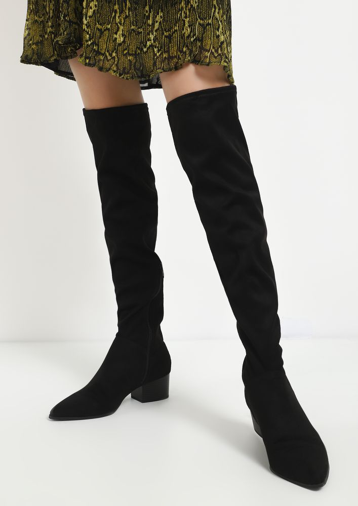 SWITCH TO SUEDE BLACK KNEE-HIGH BOOTS