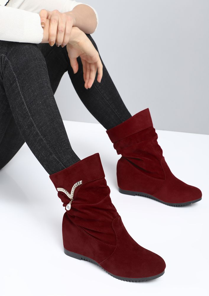 BLING OF HAPPINESS MAROON ANKLE BOOTS