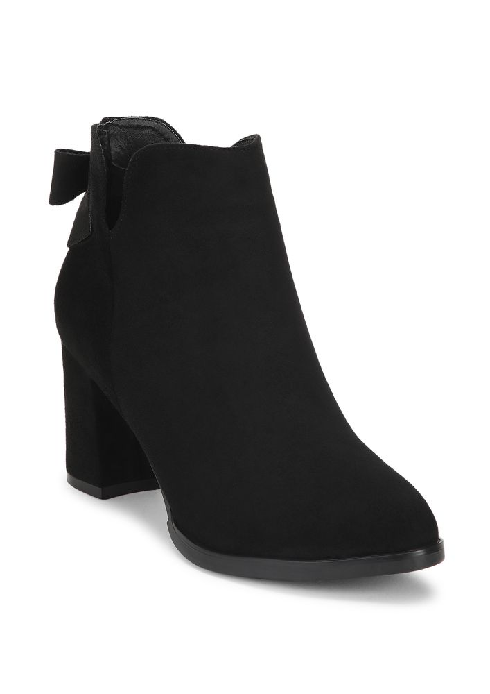 HAPPINESS AND SUEDE BLACK ANKLE BOOTS