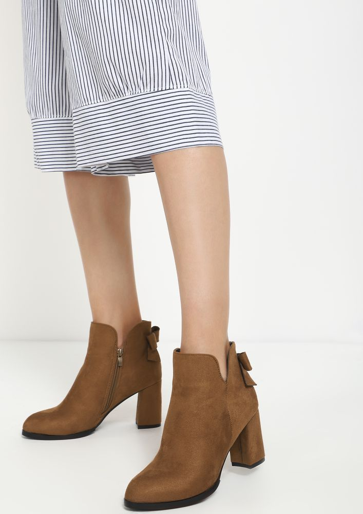 HAPPINESS AND SUEDE TAN ANKLE BOOTS