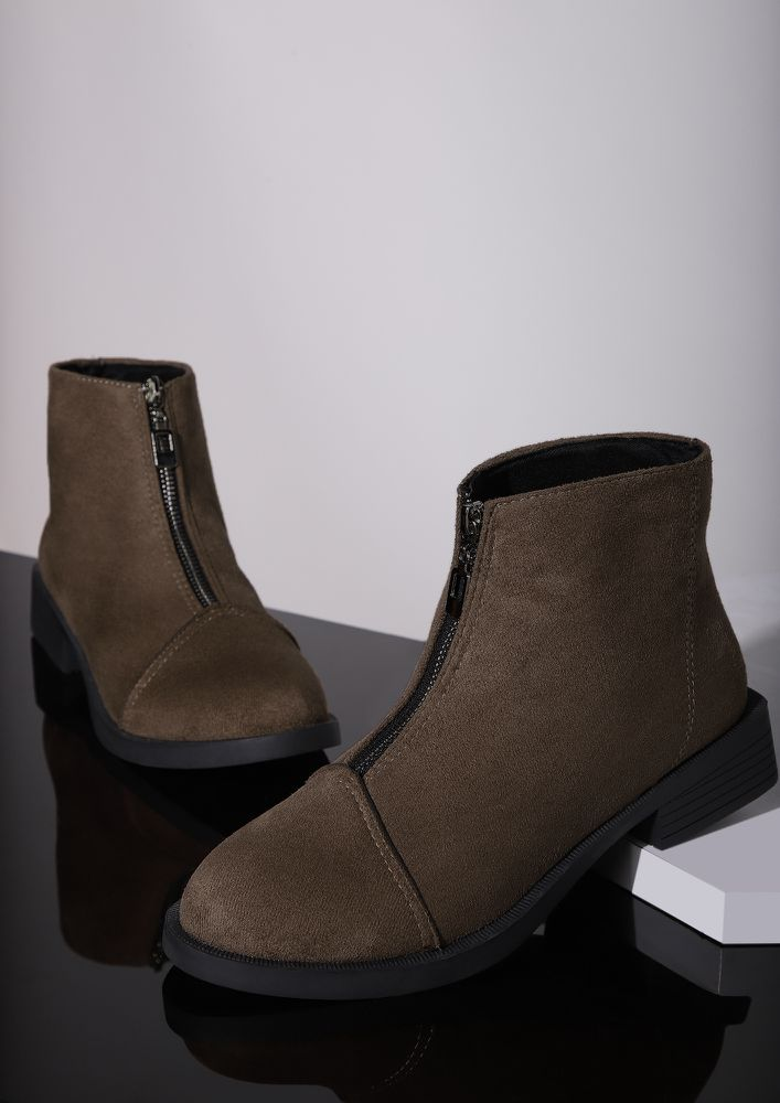 SLIP OF THE ZIP BROWN ANKLE BOOTS