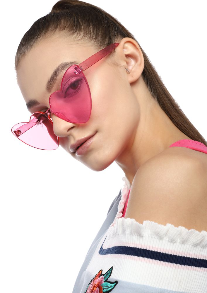 ALWAYS IN MY HEART PINK RETRO SUNGLASSES