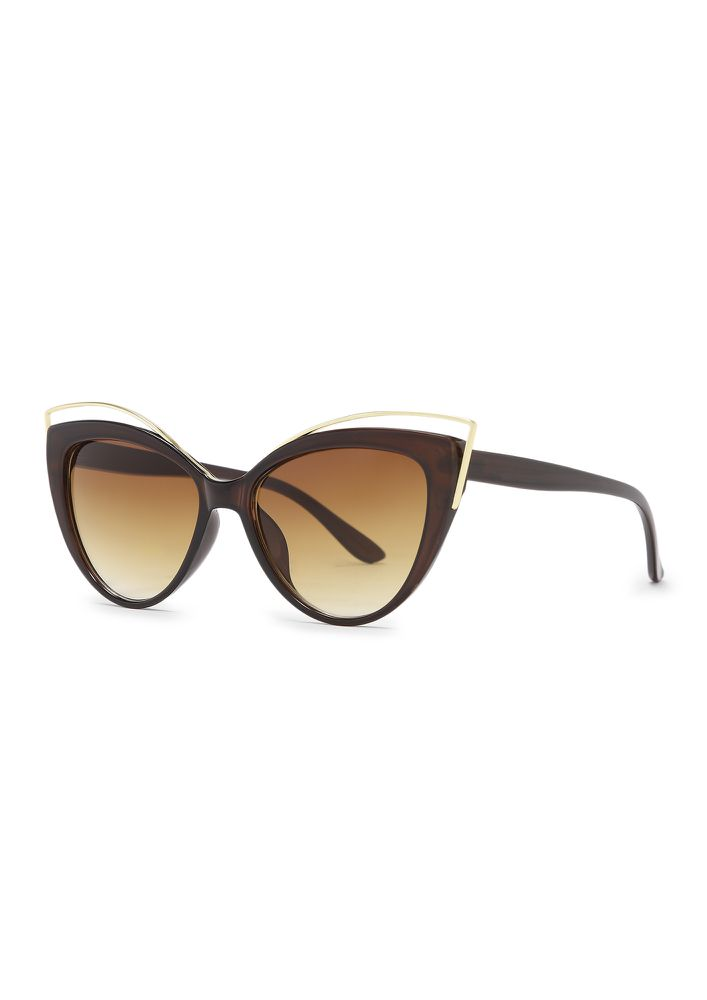 DOUBLE CHECK BROWN CATEYE SUNGLASSES