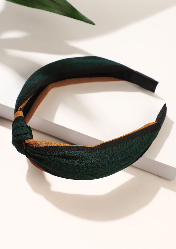 KNOT THOSE STRIPES MUSTARD GREEN HAIRBAND