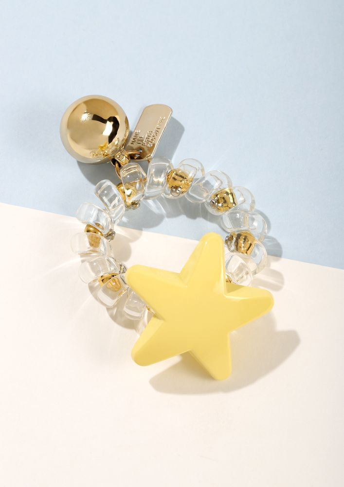 PLAY IT UP YELLOW STAR SCRUNCHIE