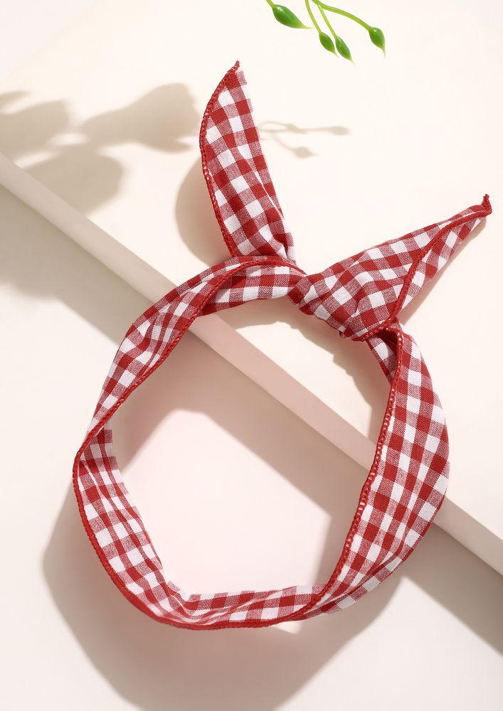 KNOT IN HERE RED AND WHITE HAIRBAND