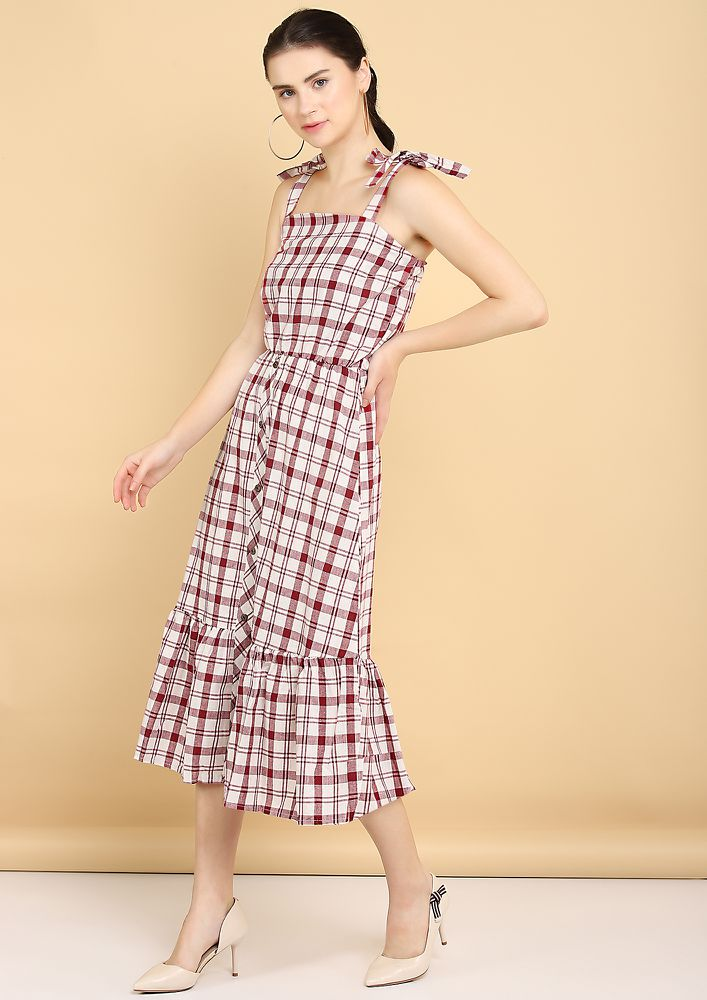 ALL CHEQUERED GAL RED WHITE MIDI DRESS