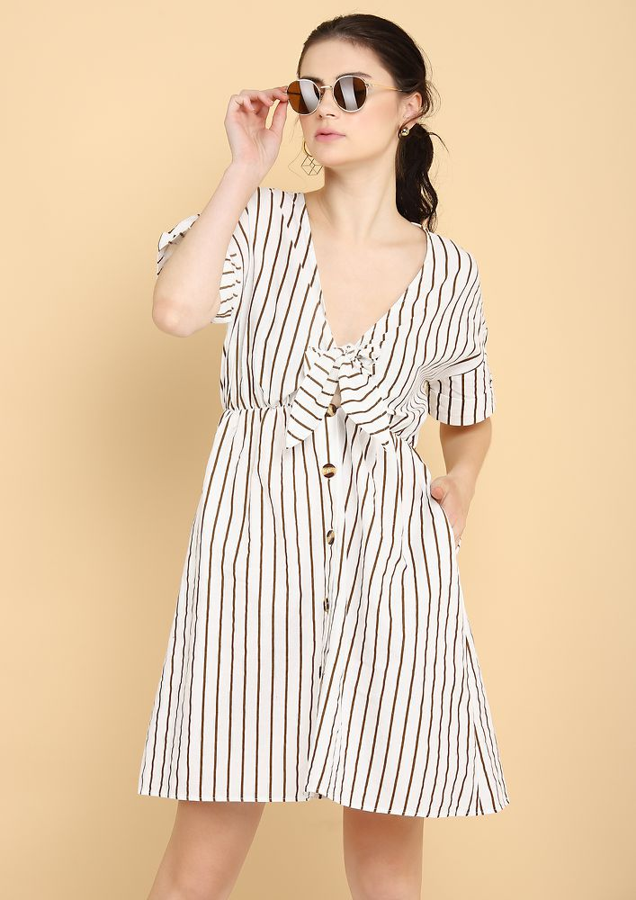 MOOD SO NAUTICAL STRIPED WHITE A-LINE DRESS