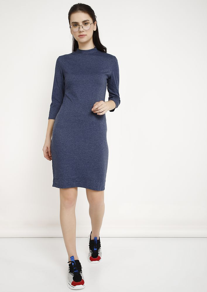 COMFORTABLY RUNNING ERRANDS BLUE MIDI DRESS