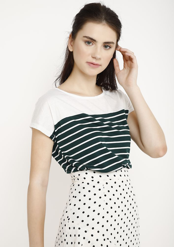 CHORES TO FINISH GREEN STRIPED TUNIC TOP