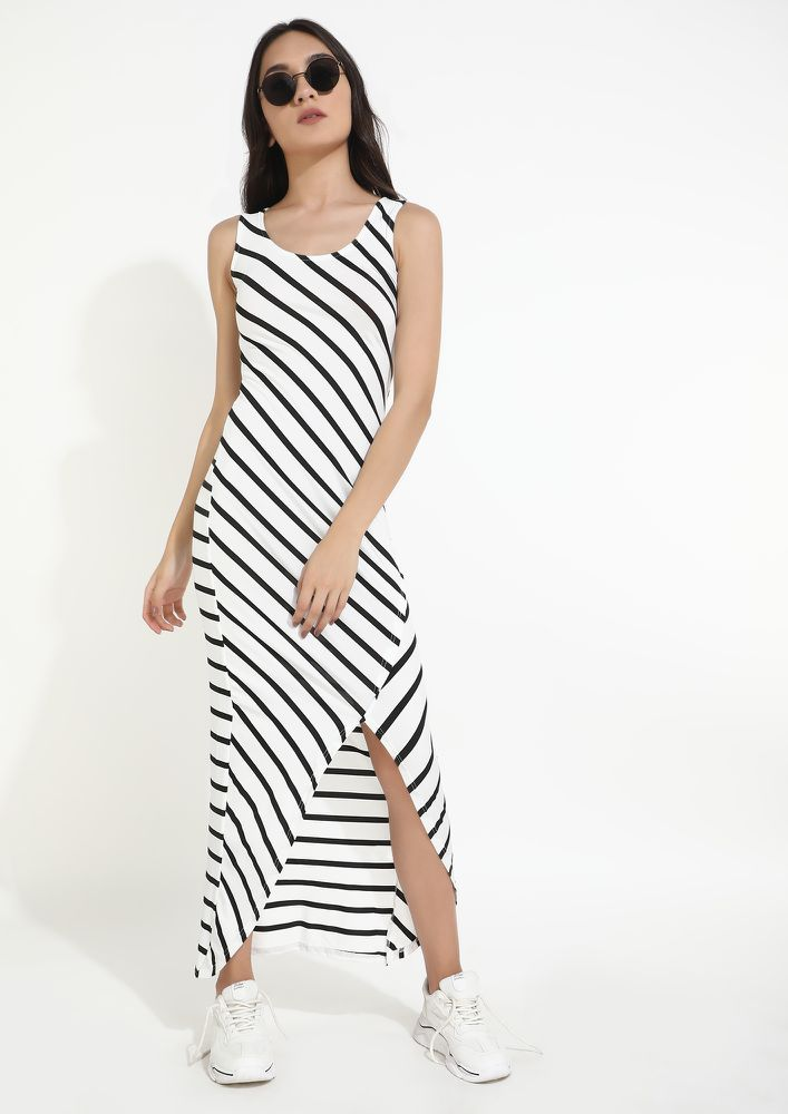 DRAW LINES IN LOVE BLACK WHITE DRESS