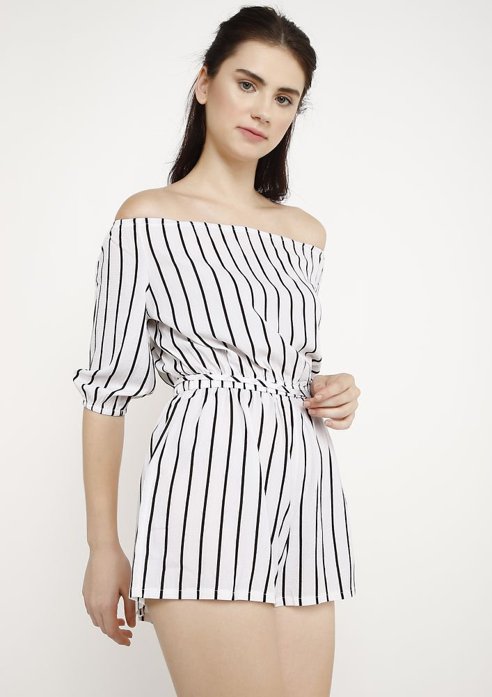 CATCH SOME STRIPES WHITE ROMPER