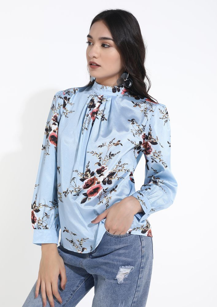 FLOWERS SHOW THE WAY BLUE TOP