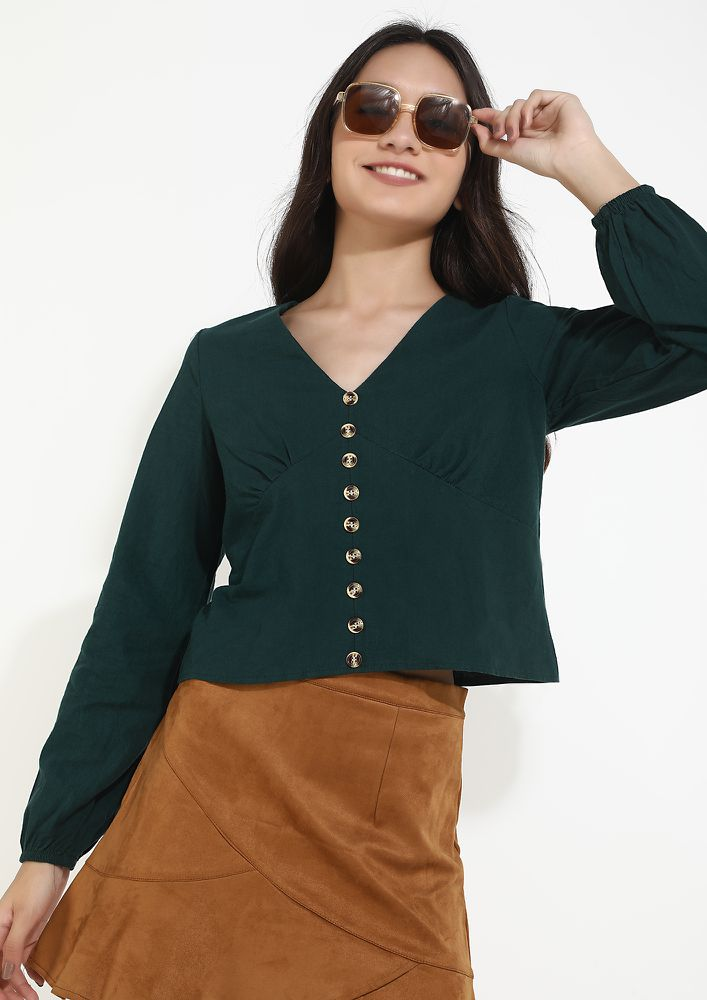 STAY CLOSER TO THE BRIGHTNESS GREEN JUMPER