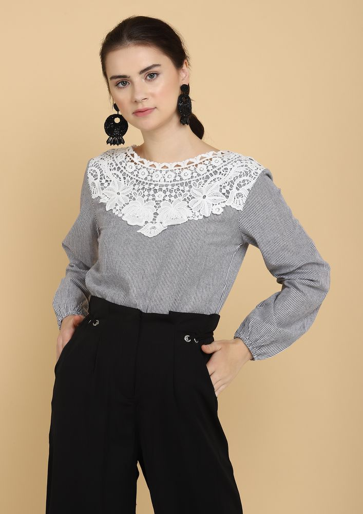 SMART CROCHET BLACK WHITE BLOUSE