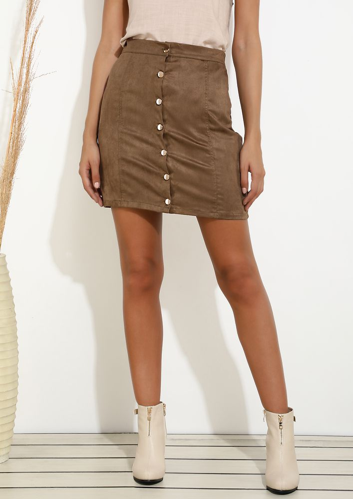 NO TIME TO WASTE BROWN SKIRT