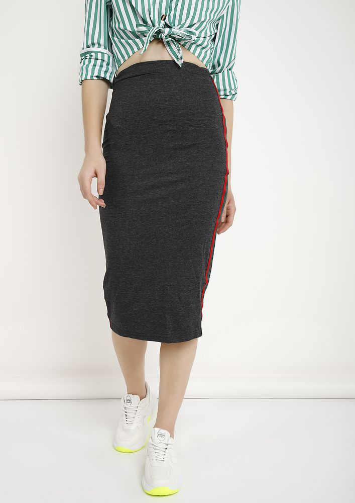 GEARING UP GREY PENCIL SKIRT