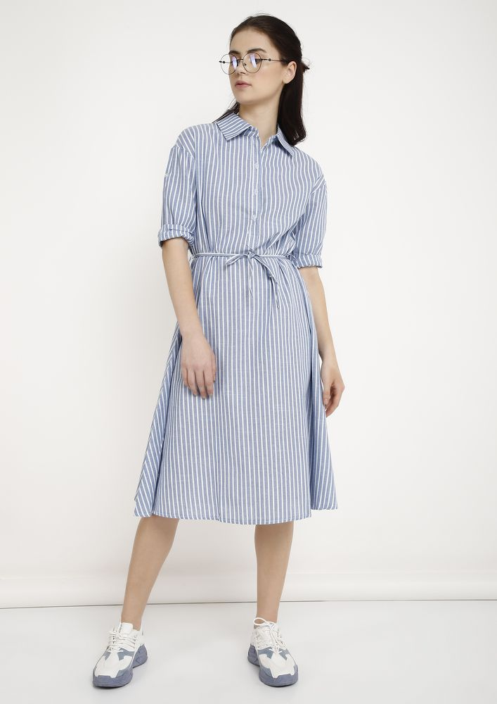 BUSY CALLS BLUE SHIRT DRESS