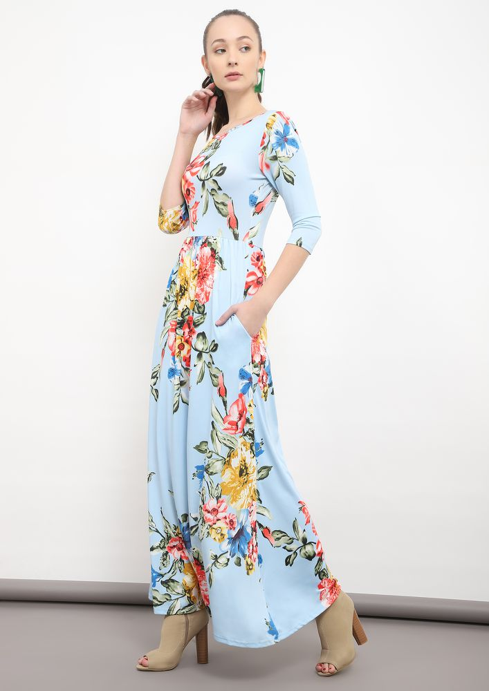 FLO-REAL THIS TIME BLUE MAXI DRESS