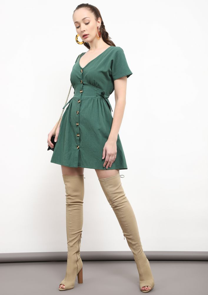 KICK SOME BUTT-ON GREEN SKATER DRESS