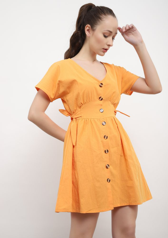 KICK SOME BUTT-ON ORANGE SKATER DRESS