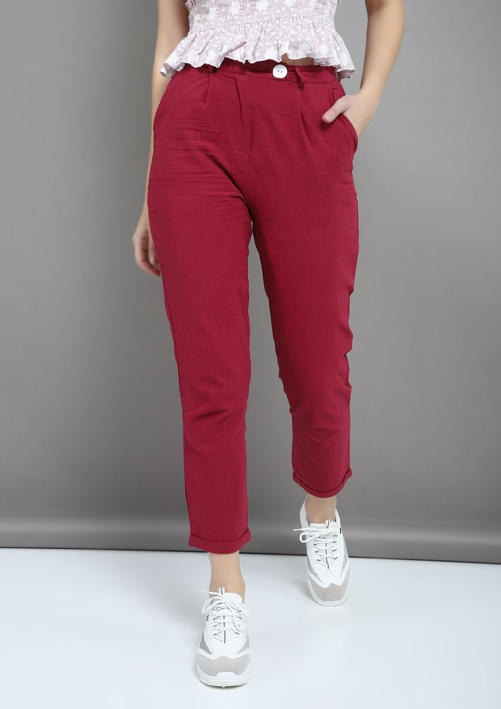 COLOUR ME WINE TROUSERS