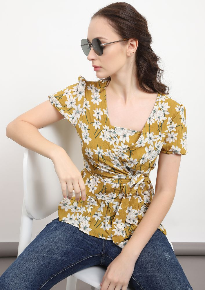 IN FULL BLOSSOM YELLOW TUNIC TOP