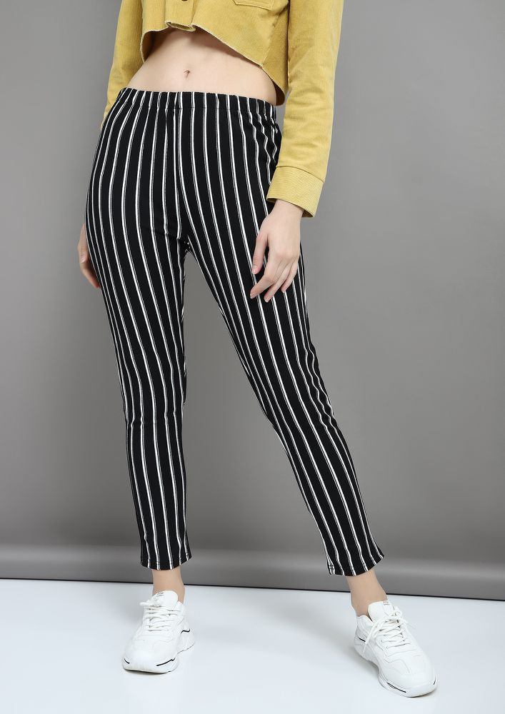STRIP-E DOWN BLACK TROUSERS