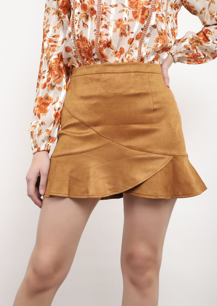 CLASS IT UP KHAKI SKATER SKIRT