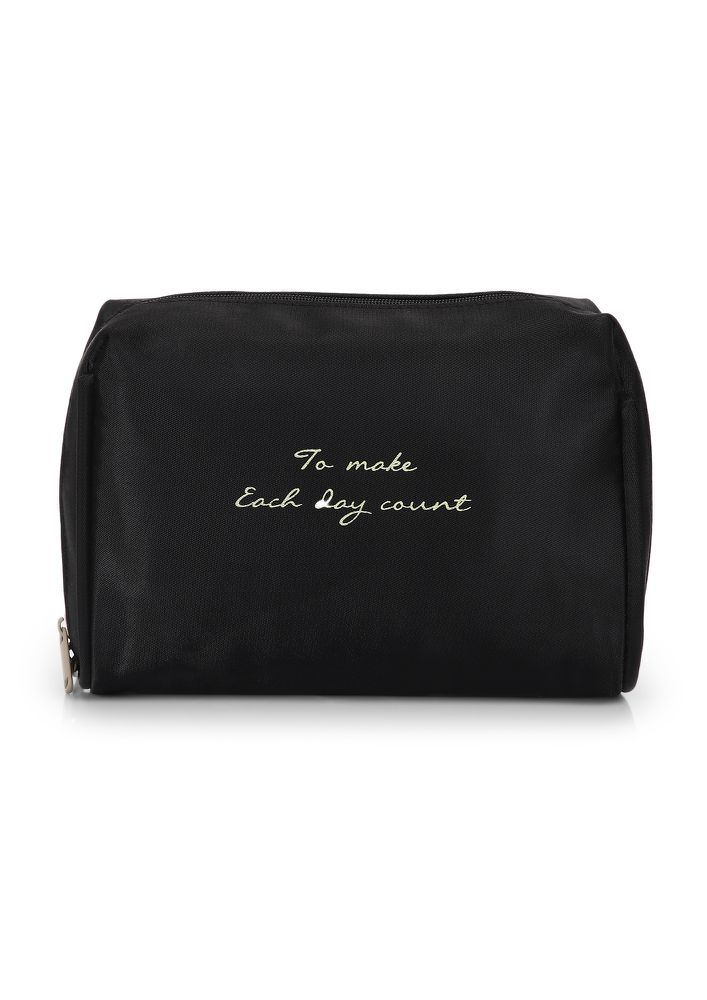 MAKE EACH DAY COUNT BLACK MAKE-UP POUCH