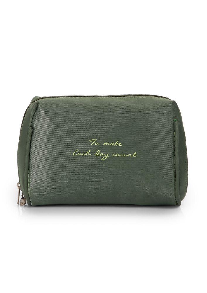 COUNTING EACH DAY OLIVE GREEN MAKE-UP POUCH