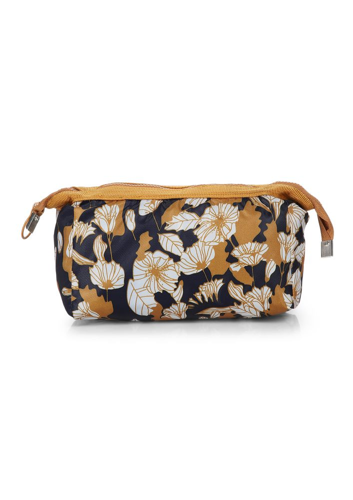 VALLEY OF FLOWERS MUSTARD YELLOW MAKE-UP POUCH