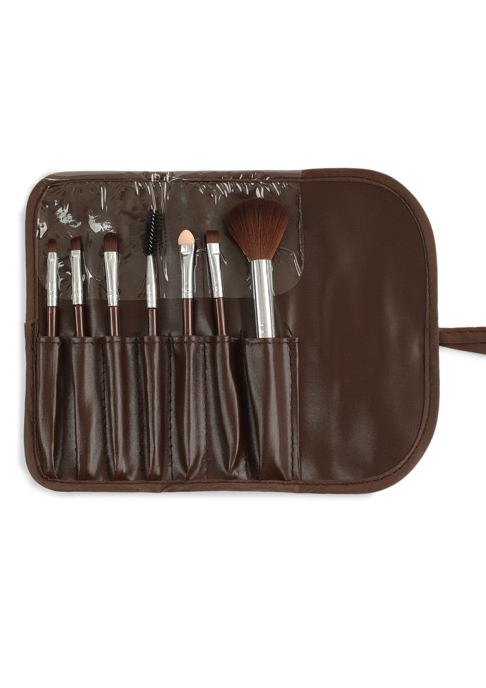 GLAM QUEEN BROWN MAKEUP BRUSHES - SET OF 7