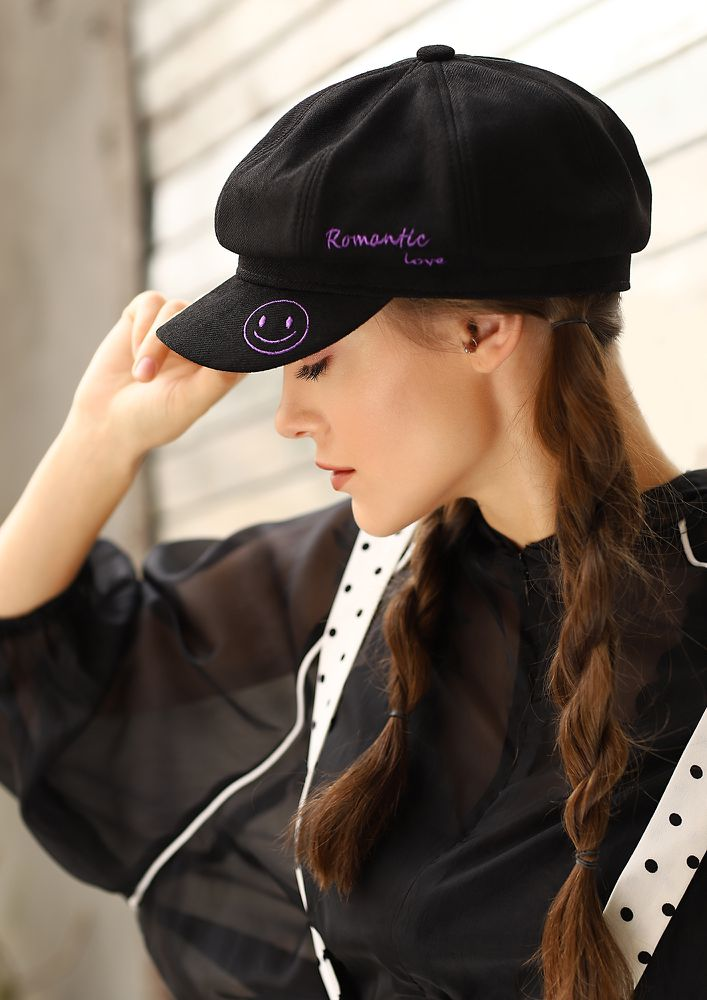 HAPPILY ROMANTIC BLACK BAKER BOY CAP