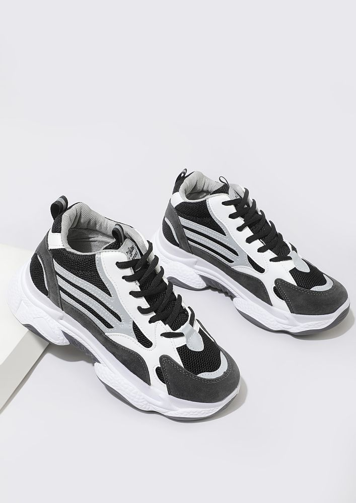 SASS IT UP BLACK TRAINERS