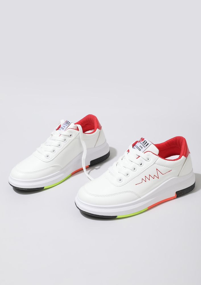 SNEAKERHEAD MUST HAVE WHITE RED TRAINERS