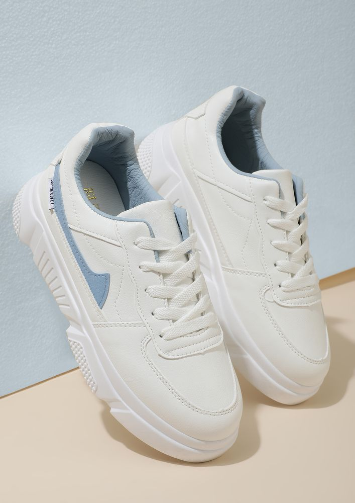 FEET ON A CLOUD WHITE BLUE TRAINERS