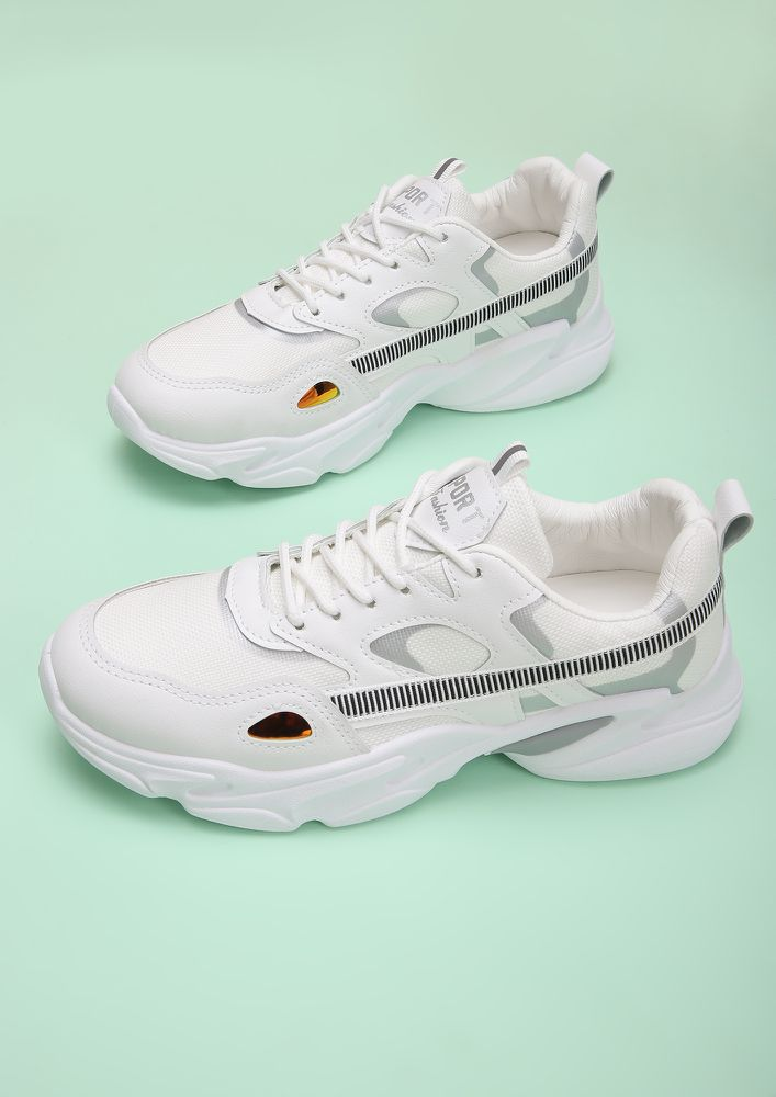 THE HUMBLE SILVER WHITE TRAINERS